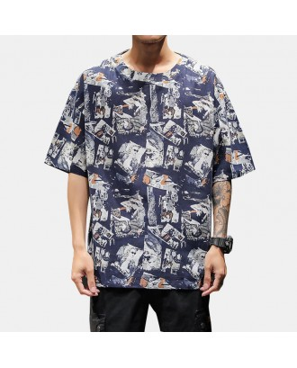Mens Ethnic Style Pattern Printed Summer Short Sleeve Loose Fit Pullover T shirt
