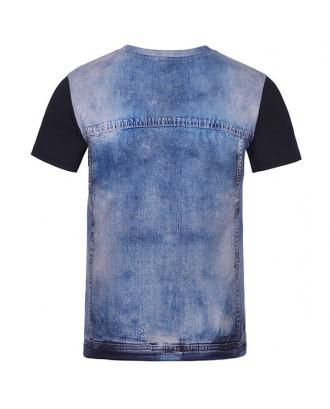 Mens Creative 3D Denim Jacket Printed Tops O-neck Short Sleeve Casual T-shirt