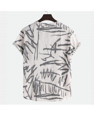 Mens Chinese Style Ink Graffiti Short Sleeve Loose Casual Pullover T shirt