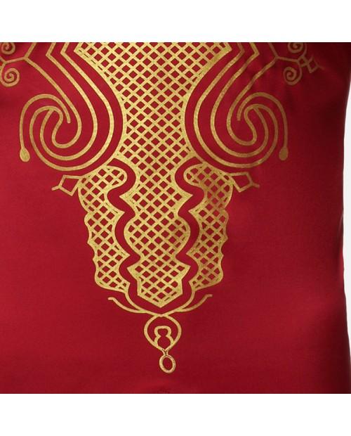Mens African Casual Long Dress Loose V-neck Splits  Long Sleeve Tops Shirts