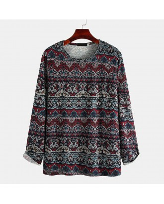 Mens Comfortable National Style Vintage Printing Long Sleeve Round Neck T-Shirt