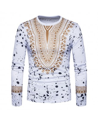 Mens African Ethnic Style 3D Printed Long Sleeve Casual T Shirts