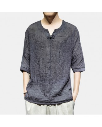 Mens Chinese Style Thin Breathable Half Sleeve Loose Casual Pullover T shirt