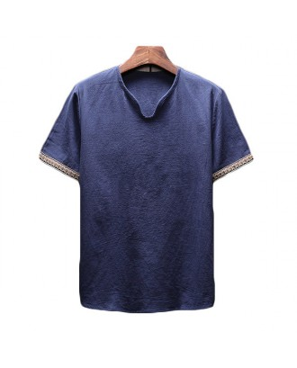 Mens Chinese Style Linen Retro Solid Color Summer Casual T Shirt