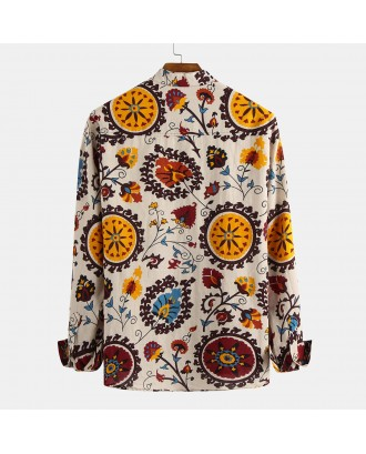 Mens Ethnic Style Floral Printing Long Sleeve Loose Casual Henley Shirts