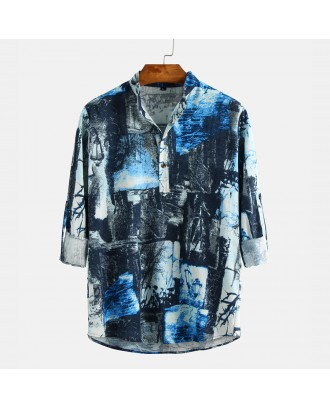 Mens Autumn National Style Printed Long Sleeve Stand Collar Henley Shirt