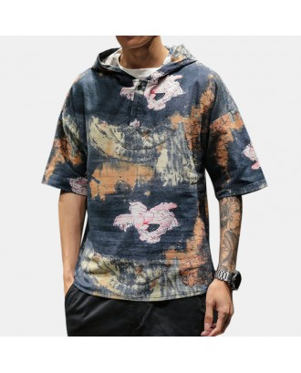 Mens Chinese Style Vintage Printing Short Sleeve Hooded Pullover Henley Shirts