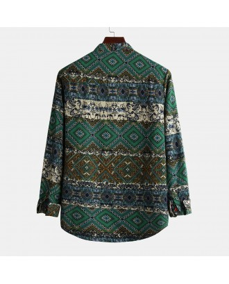 Mens Casual Fashion Natinal Style Printed Slim Long Sleeve Henley Shirt