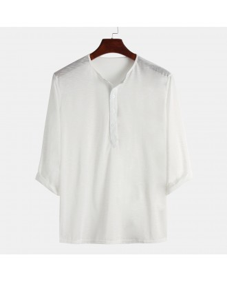 Mens Comfortable Casual Home Wear Solid Color Half Sleeve Shirt