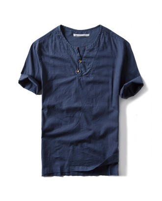 Mens Chinese Style Cotton Linen Solid Color Vintage Casual Short Sleeve T shirt