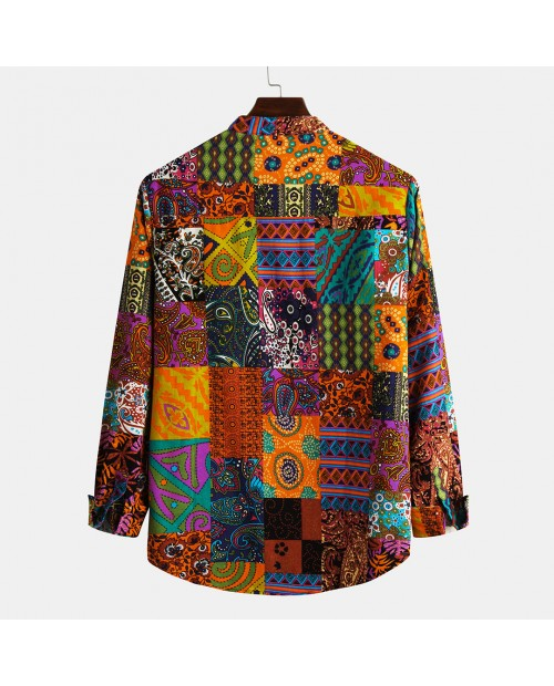 Mens Casual Natinal Style Patchwork Printed Cotton Linen Slim Long Sleeve Henley Shirt