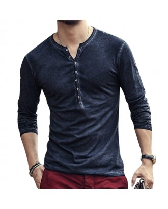Mens 100% Cotton Distressed Design Slim Fit Long Sleeve  Henry Collar Button Placket T-Shirt