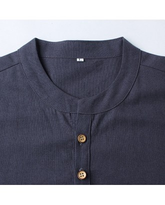 Mens Cotton Linen Chinese Style Retro Solid Color Stand Collar Summer Casual T Shirts