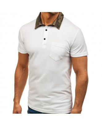 Mens Camo Printed Collar Design Tees Short Sleeve Slim Fit Casual Golf Shirt