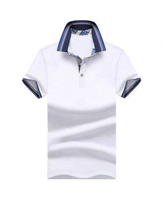 Mens Spring Summer Breathable Solid Color Business Casual Golf Shirt