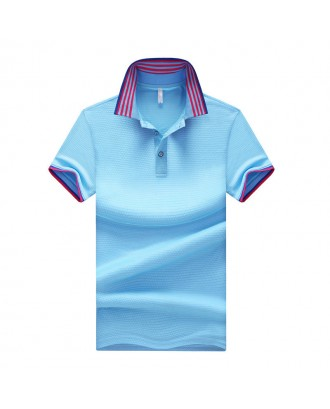 Mens Summer Striped Printed Collar Solid Color Short Sleeve Business Casual Golf Shirt