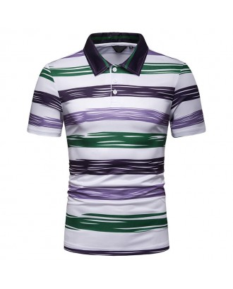 Mens Multi Color Striped Comfy Turn Down Collar Short Sleeve Golf Shirts