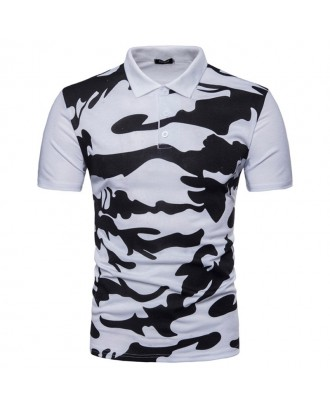 Mens Camouflage Slim Fit Short Sleeve Summer Casual Golf Shirt