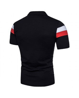Mens Business Casual Striped Golf Shirt Western Style Stylish Hit Color Slim Fit T Shirts