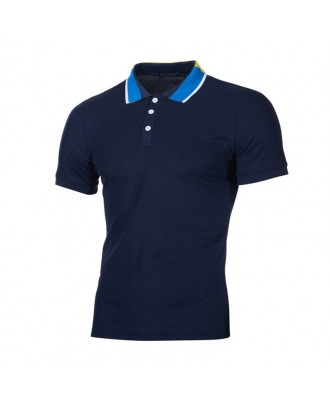 Mens Summer Breathable Comfy Solid Color Slim Fit Business Casual Golf Shirt