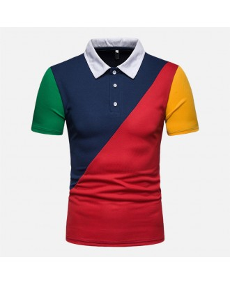 Mens Contrast Color Splice Turn Down Collar Short Sleeve Loose Golf Shirts