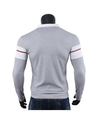 Mens Cotton Slim Fit Turn-down Collar Contrast Color Long Sleeve Golf Shirts