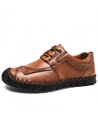 Men Cow Leather Hand Stitching Comfy Soft Toe Protective Casual Shoes