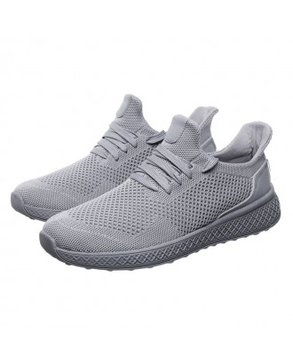 Men Free Knitted Fabric Lace Up Light Weight Rnning Sneakers