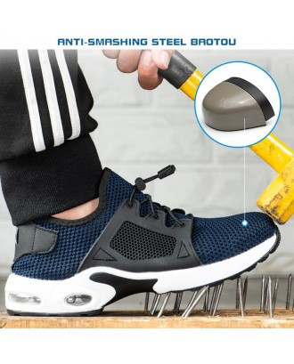 Men Air Cushion Shock Absorption Knitted Breathable Steel Toe Cap Safety Shoes