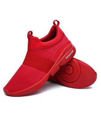 Men Elastic Band Portable Slip On Running Shoes Light Casual Sneakers