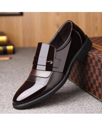 Men Microfiber Leather Slip On Business Formal Dress Shoes