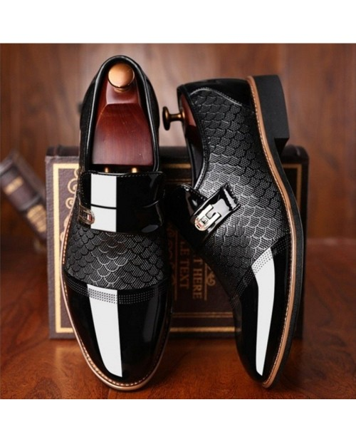 Large Size Men Stylish Cap Toe Slip On Formal Dress Shoes