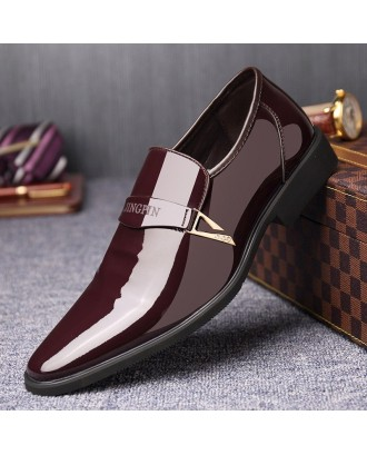 Men Metal Buckle Stylish Slip On Business Formal Dress Shoes