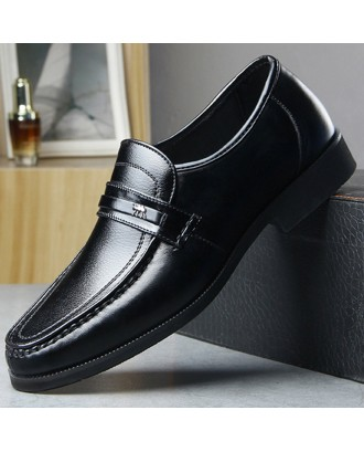 Men Genuine Leather Non Slip Slip On Business Casual Formal Shoes