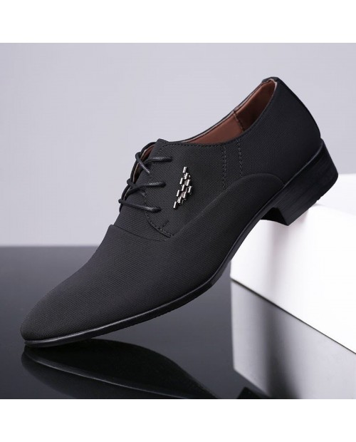 Men Canvas Splicing Pointed Toe Lace Up Business Formal Dress Shoes