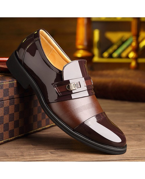 Large Size Men Leather Splicing Non-slip Business Casual Formal Shoes