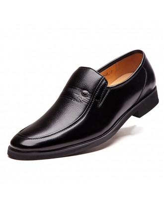 Men Microfiber Leather Non Slip Slip On Business Formal Shoes