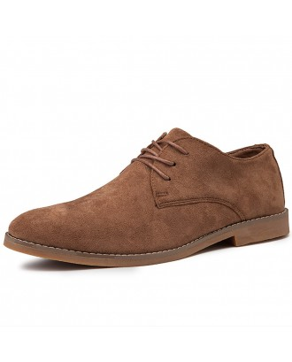 Men British Style Suede Oxfords Lace Up Comfy Business Formal Shoes