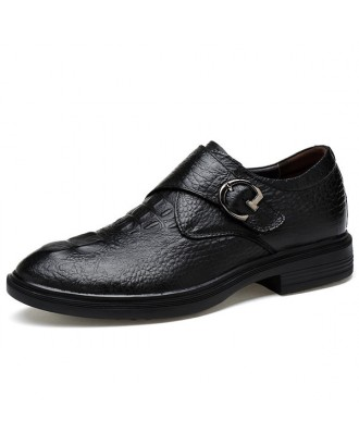Men Large Size Cow Leather Hook Loop Business Shoes