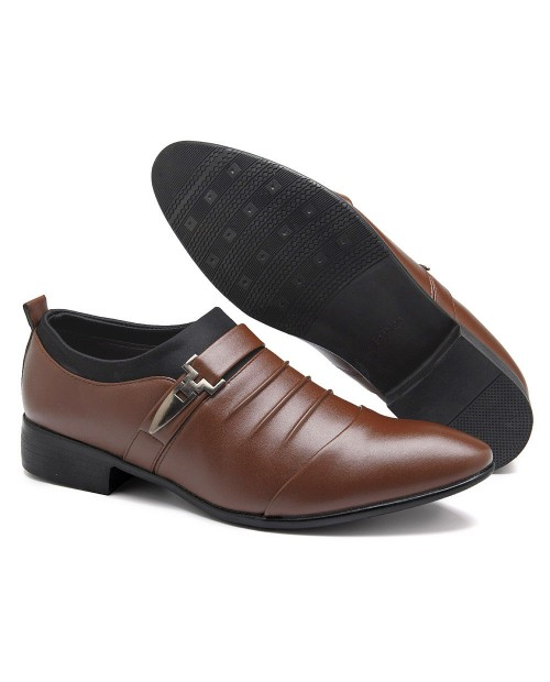 Men Classic Metal Buckle Ponited Toe Business Dress Wedding Shoes