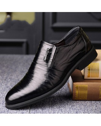 Men Pure Color Leather Non-slip Slip On Business Casual Formal Shoes
