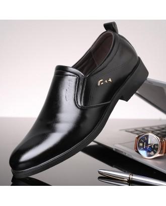Large Size Men Leather Slip Resistant Business Formal Dress Shoes