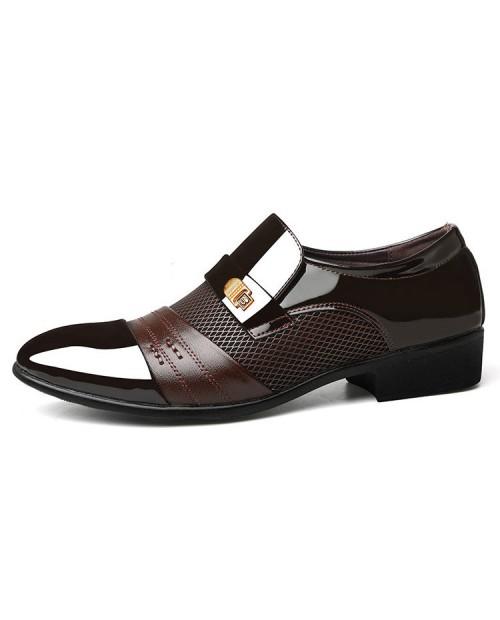 Large Size Men Stylish Splicing Slip On Business Formal Dress Shoes