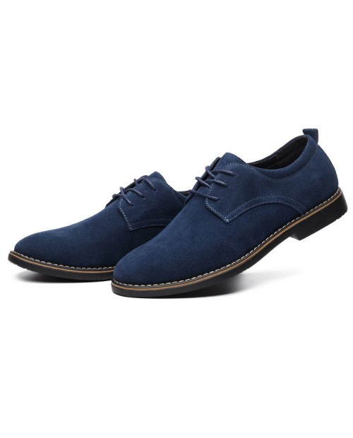 Men British Style Suede Oxfords Lace Up Business Formal Casual Shoes