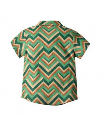 Boys Wave Pattern Printed Shirt Beach Holiday T-shirt For 1-7Y