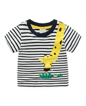 Animal Pattern Boys Kids Striped Short Sleeve Cotton Tops T-Shirt For 1Y-9Y