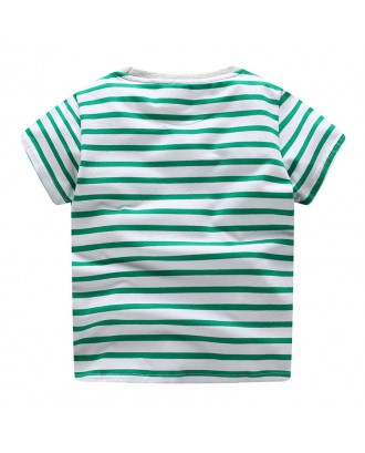 Animal Print Boys Striped T-Shirt Toddler Kids Short Sleeve Summer Tops For 1Y-9Y