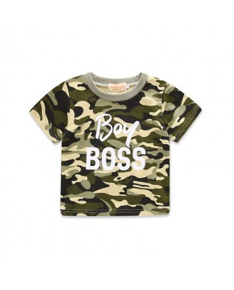 Camouflage Boy Girls Boss Printed T Shirt Short Sleeve Tops For 1-7 Years