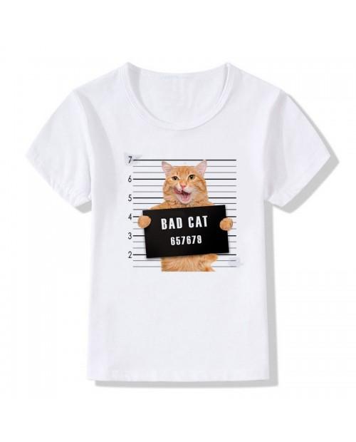 3D Cat Pattern Toddler Boys Girls Kids Short Sleeve Tops T-shirt For 3Y-13Y