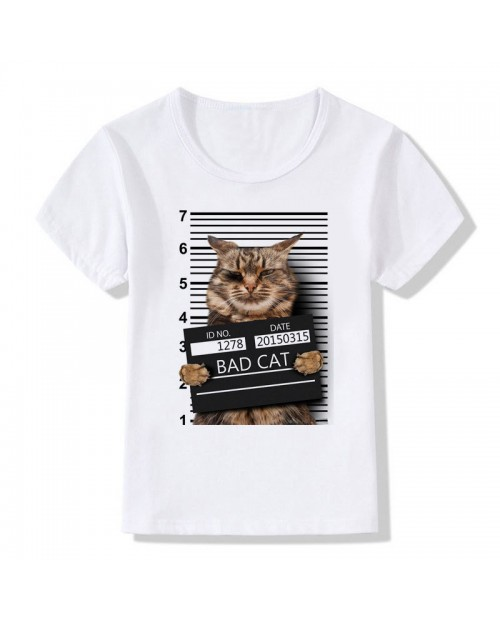 3D Cat Pattern Toddler Boys Girls Kids Short Sleeve Tops T-shirt For 3Y-13Y